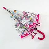 Детский зонт для девочки с единорогами прозрачный-розовый красивый трость полуавтомат 8 спиц Mario 286-3, фото 6