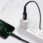 Кабель USB (тато) = USB type C (тато) 1м Hoco S6 Sentinel Black (with display), фото 5