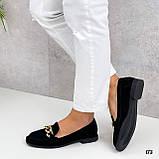 Тільки 38 р!!! Стильні лофери - туфлі жіночі чорні з ланцюжком натуральна замша, фото 2