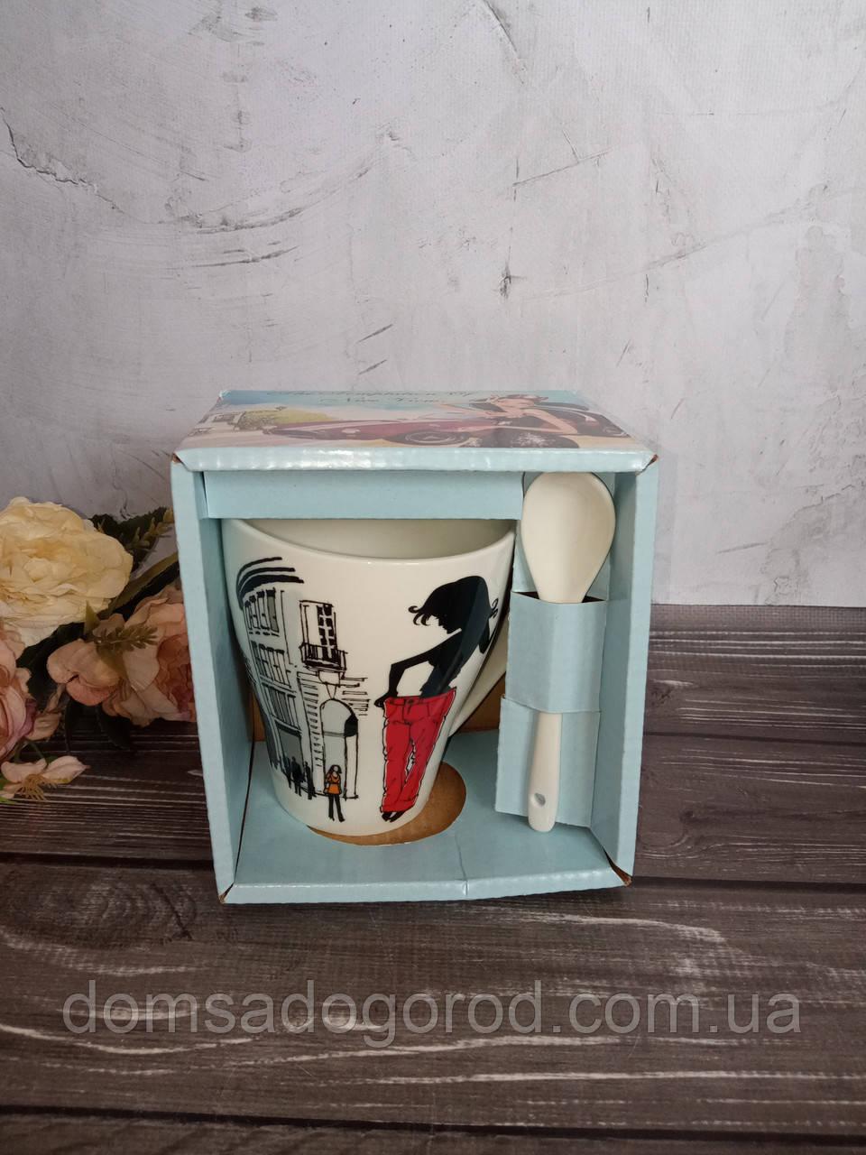 Чашка керамика 340 мл Красотка S&T 2063