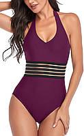 Женский слитный купальник, фиолетовый купальник с поясом FS-9326-35