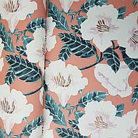 Шпалери вінілові на флізелін Caselio The Place to bed 0.53х10 м дитячі яскраві великі білі квіти на рожевому, фото 1