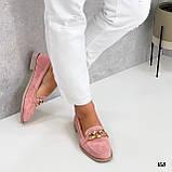 Стильные женские туфли - лоферы розовые / пудра с цепочкой натуральная замша, фото 2