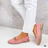 Стильные женские туфли - лоферы розовые / пудра с цепочкой натуральная замша, фото 3