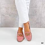 Стильные женские туфли - лоферы розовые / пудра с цепочкой натуральная замша, фото 4