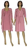 Комплект домашний, ночная рубашка и легкий халат 21016 Santolina Light коттон / гипюр Лиловый, фото 1