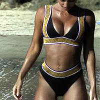 Женский раздельный купальник, черный купальник с принтом CC-9325-10
