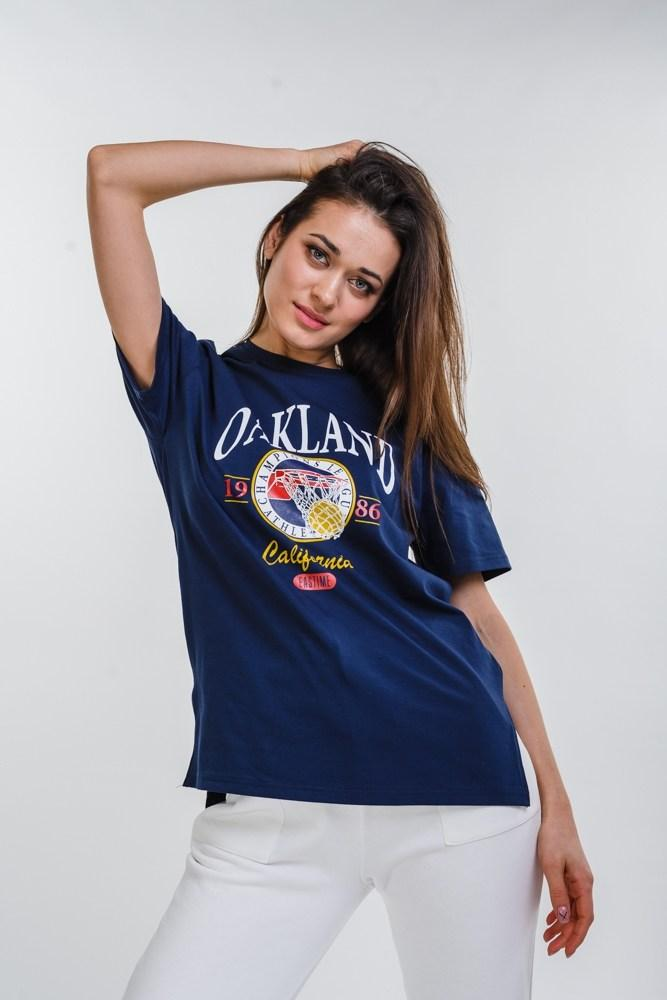 Женская удлиненная футболка с надписью OAKLAND