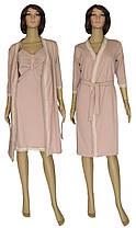 Комплект домашний, ночная рубашка и легкий халат 21016 Santolina Light коттон / гипюр Капучино