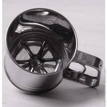Сито-кружка 300 мл с тремя уровнями просеивания, чашка просеиватель муки Сито для борошна, нержавіюча сталь
