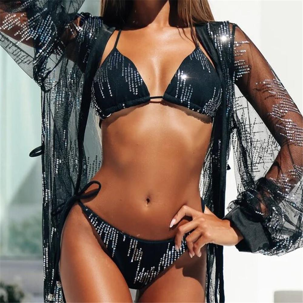 Женский раздельный купальник, блестящий черный купальник бикини  CC-9327-10