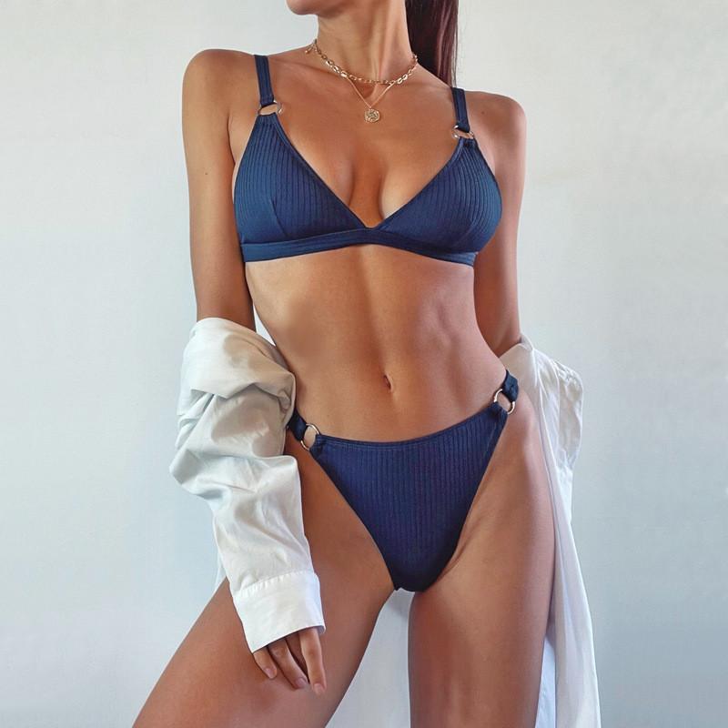 Женский раздельный купальник, классический синий купальник  CC-9328-50