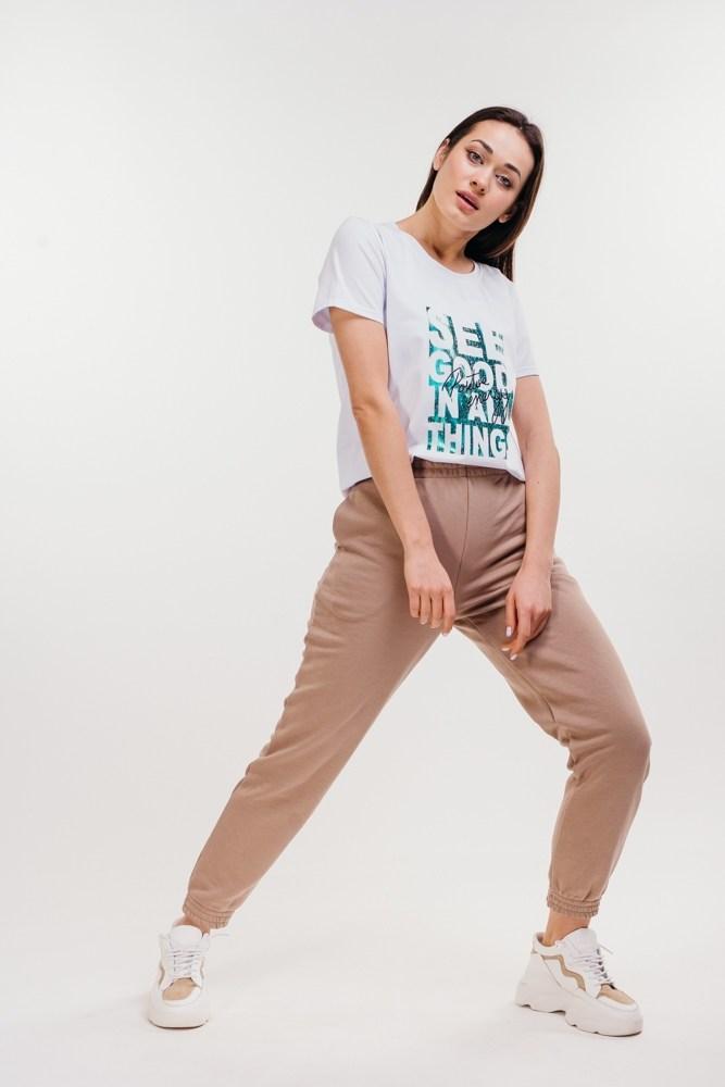 Женская белая футболка с надписью SEE GOOD IN ALL THINGS