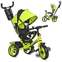Дитячий триколісний велосипед для самих маленьких з батьківською ручкою (зелений) Turbo Trike M 3113-4
