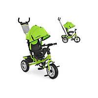 Дитячий триколісний велосипед з батьківською ручкою зелений Turbo Trike Metr+ M 3113-4А