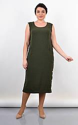Красивое женское платье Венера для пышных форм, оливковый цвет