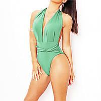 Женский слитный купальник, зеленый купальний с завязками на шее  FS-9329-40