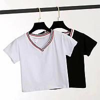 Женская стильная футболка с V-образным декольте, фото 1