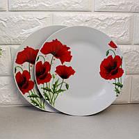 """Тарелка обеденная плоская с красными маками 20.5 см 8"""" (4336)"""