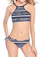 Женский раздельный купальник, синий купальник с принтом CC-9334-50