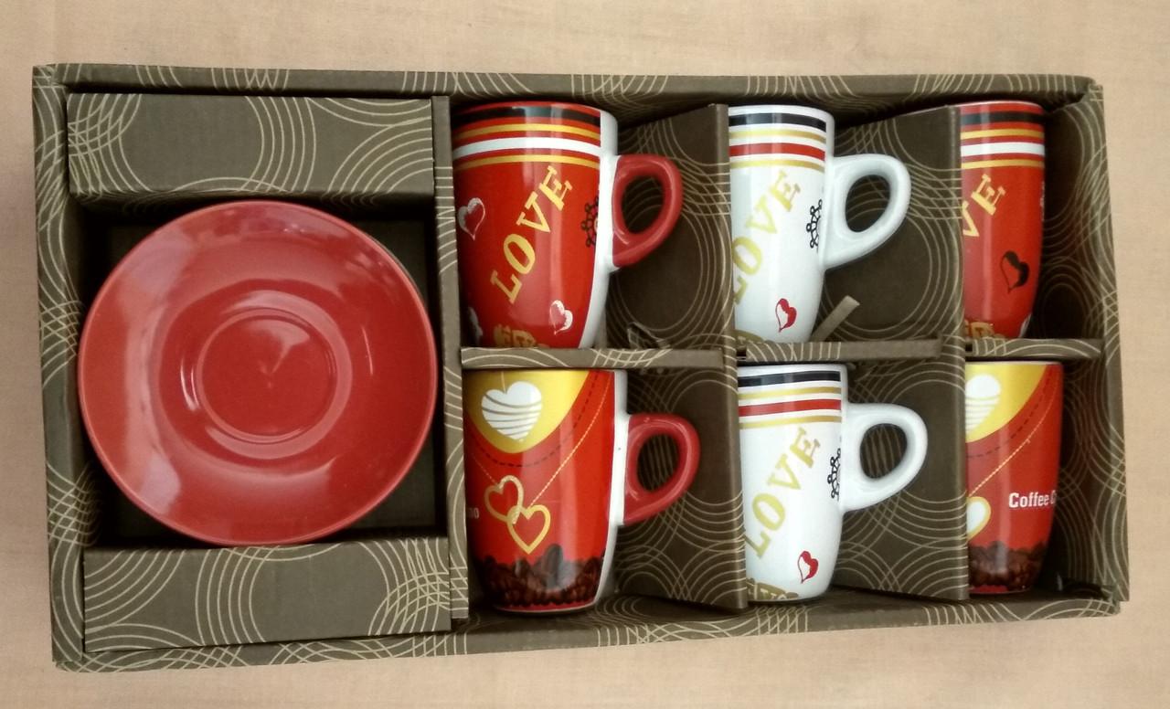 Набор кофейный - 6 чашек 120мл., 6 блюдец