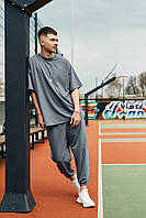 Спортивный костюм оверсайз мужской серый сезон весна лето Фортис от бренда Тур, размеры: XS,S,M, L, XL