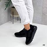 Жіночі кросівки чорні еко-замша + шкіра весна - осінь, фото 4