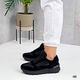 Жіночі кросівки чорні еко-замша + шкіра весна - осінь, фото 2