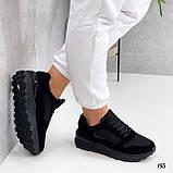 Жіночі кросівки чорні еко-замша + шкіра весна - осінь, фото 5