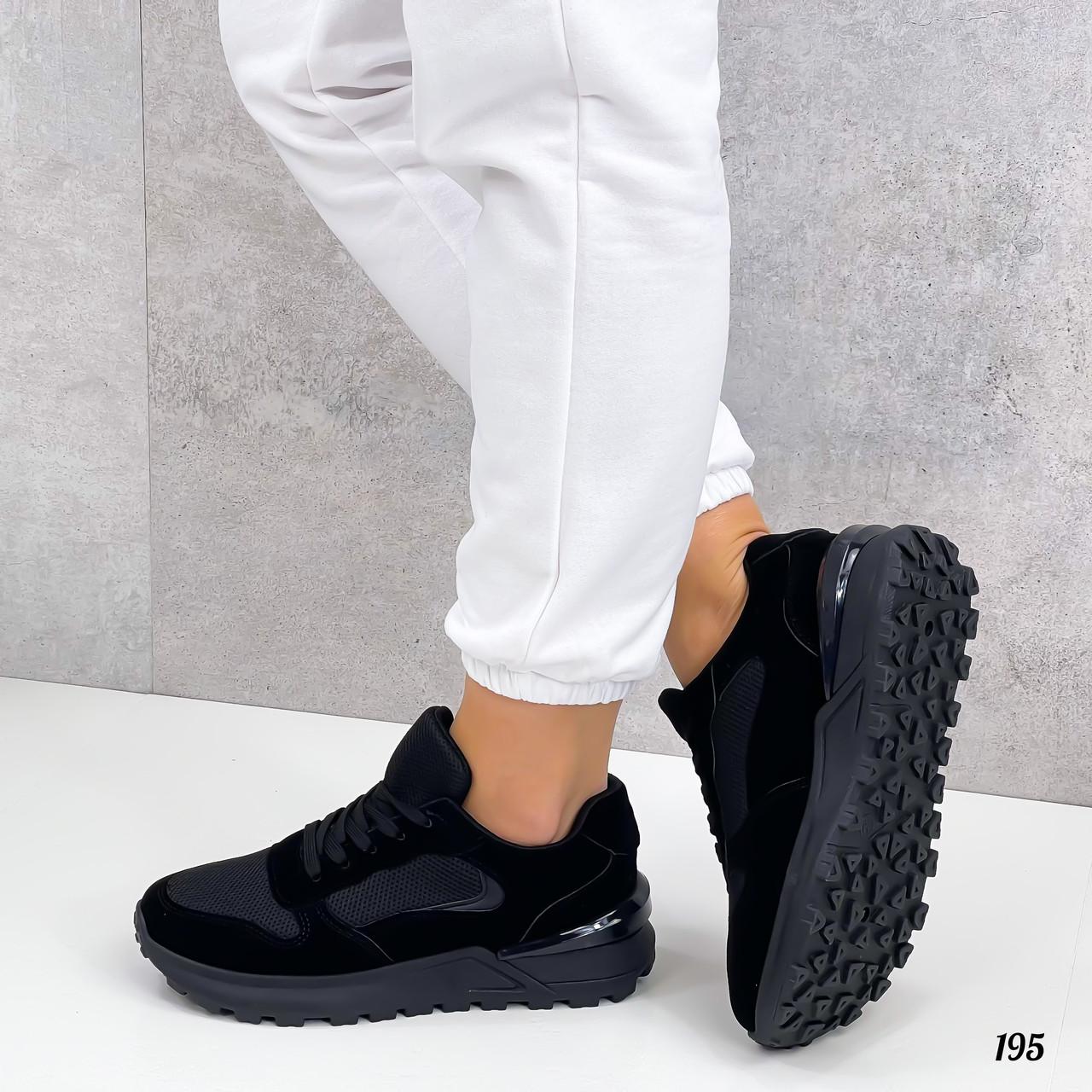 Жіночі кросівки чорні еко-замша + шкіра весна - осінь