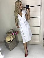 Платье стильное,ткань .габардин однотонное,на запах с коротким рукавом(42-46), фото 1