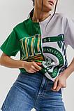 Женская двухцветная футболка в стиле оверсайз, фото 2