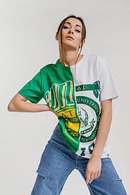 Жіноча двоколірна футболка в стилі оверсайз