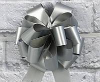 Бант-затяжка (ш. стрічки 3 см, д. 15 см) срібло сатин для упаковки подарунків поліпропілен