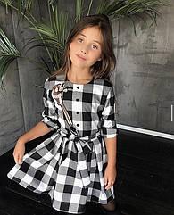 Детское платье в клеточку на рост 116-134 см