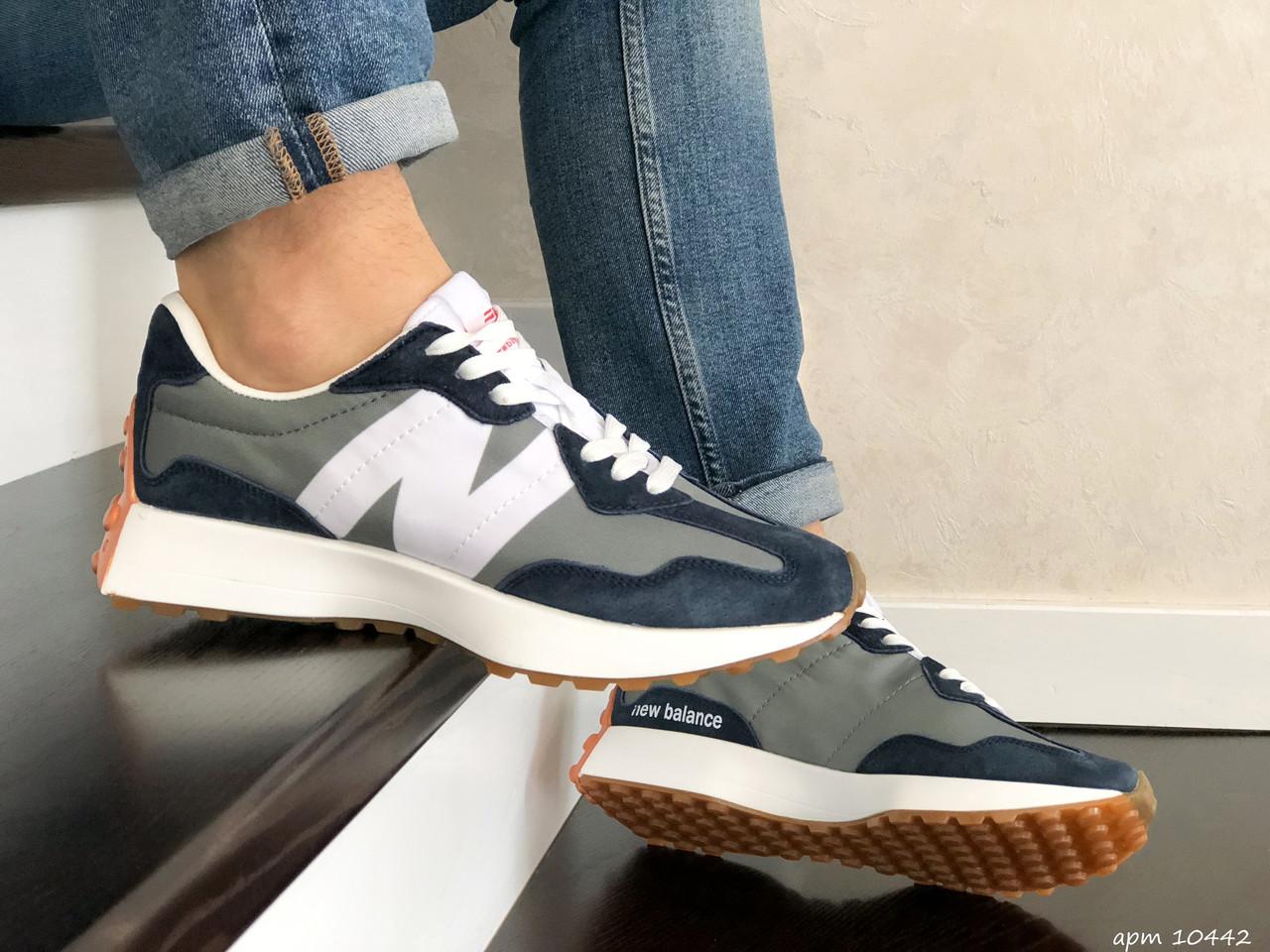 Мужские кроссовки New Balance (серые синим) B10442 крутая удобная обувь