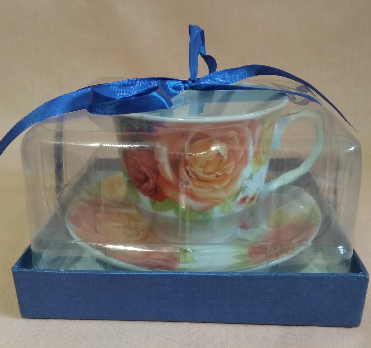 Чашка с блюдцем 250мл. (фарфор) в подарочной коробке