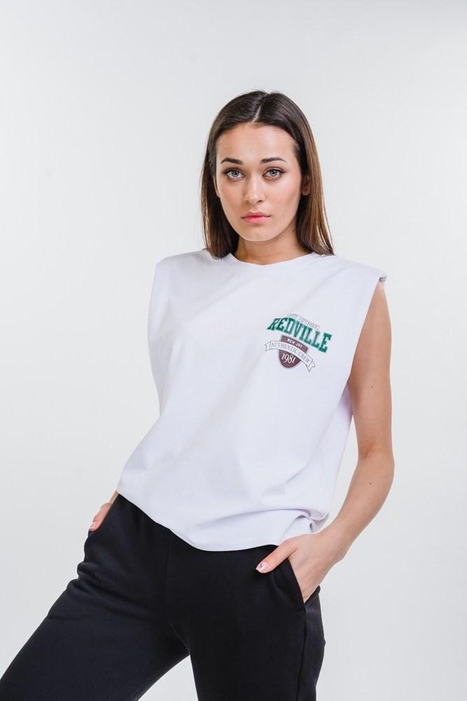 Женская футболка без рукавов с плечиками