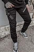 Молодежные мужские Джоггеры штаны из коттона с манжетами, Черные брюки casual