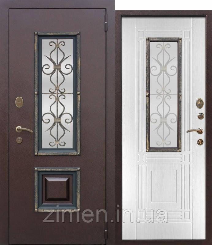 Вхідні металеві двері зі склопакетом та ковкою Vikont