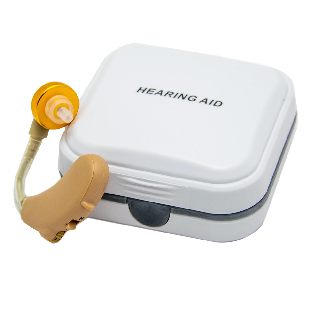 Слуховий апарат Axon V-185 завушний, підсилювач звуку людини, прилад для поліпшення слуху (слуховий апарат)