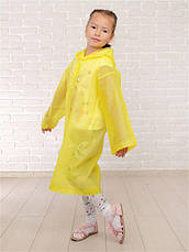 Дождевик детский на кнопках многоразовый желтый 120-160см C-1010, фото 3