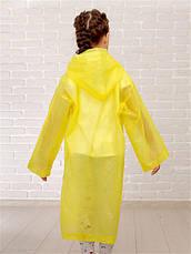 Дождевик детский на кнопках многоразовый желтый 120-160см C-1010, фото 2