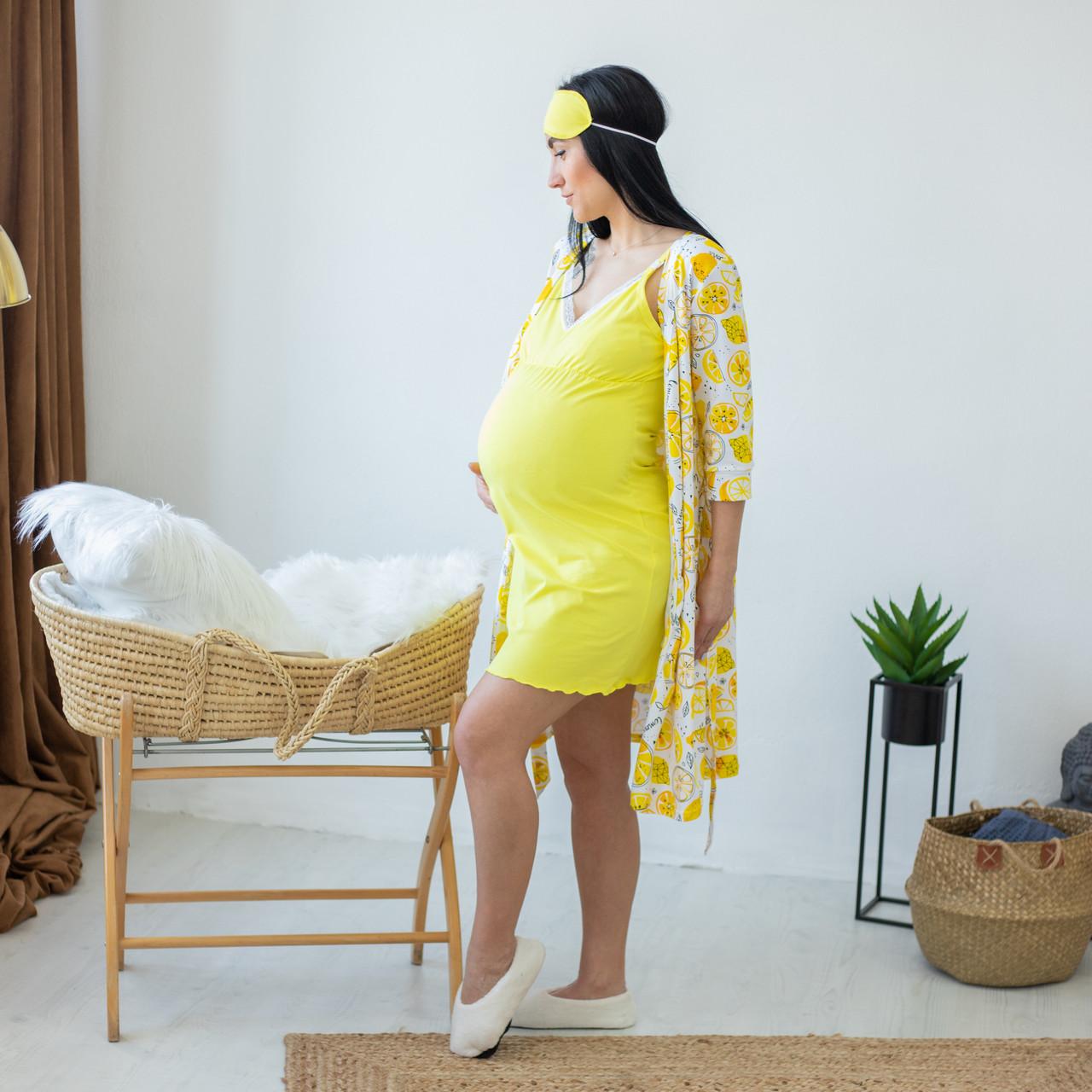 Комплект халат з нічної для годуючих мам лимон р. 44-52