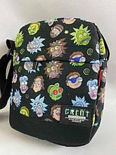 Барсетка сумка через плечо молодежная  из ткани с ярким принтом