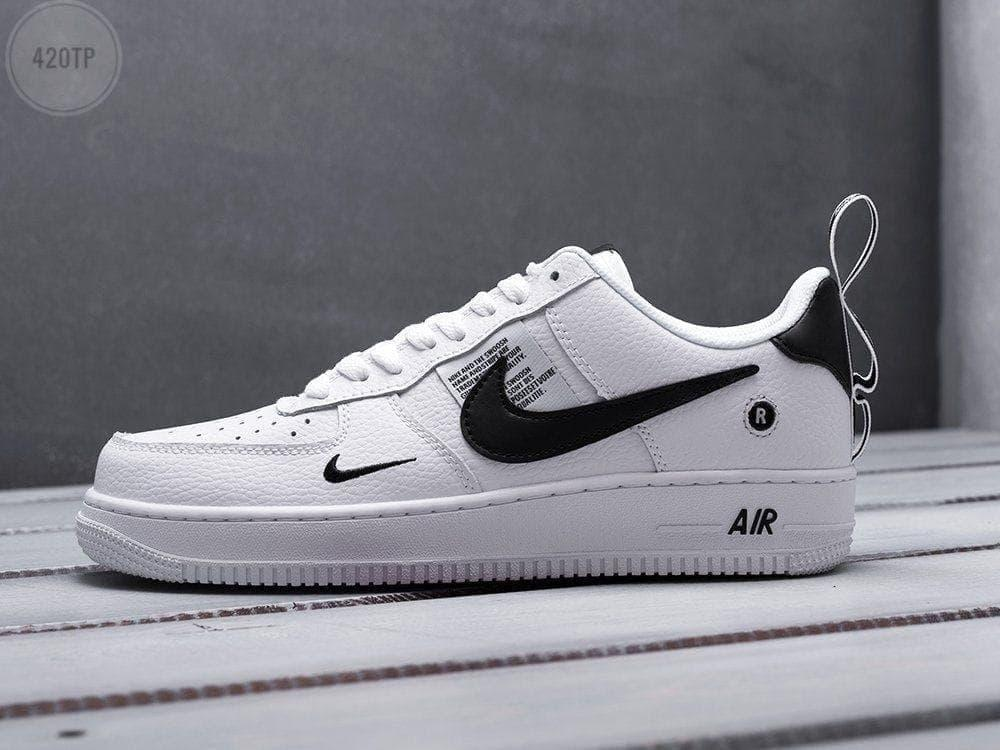 Чоловічі кросівки Nike Air Force Low White-Black (білі з чорним) 420TP модні шкіряні кроси