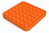 Антистресс сенсорная игрушка Pop It Квадрат Оранжевый