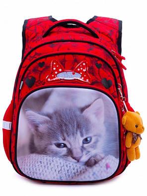 Ортопедический рюкзак школьный для девочки в 1-4 класс Котик Красный SkyName R3-234, фото 2