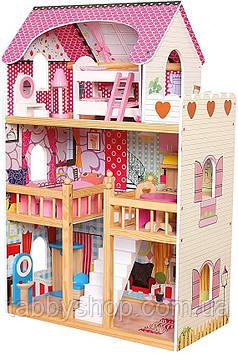 Іграшковий будиночок BINO для ляльок з меблями, триповерховий