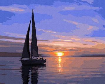 Картины по номерам 40х50 см Brushme Парусник на закате (GX 31088)